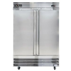 New Xiltek Two Door All In Out Stainless Steel Reach In Freezer 47 Cu Ft