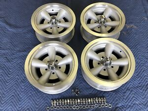 Vintage Set 15x6 Hollywood American Torque Thrust Style Chevy 5 On 4 3 4