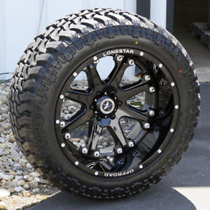 22 Black Lonestar Bandit Dish Wheels 35 M T Tires Expedition 6x135 22x12 44
