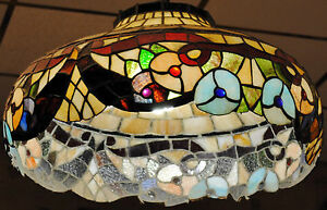 Gorgeous Vintage Tiffany Style Stained Glass Floral Pendant Lamp Est 20k