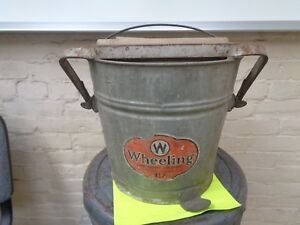 Vintage Wash Bucket Galvanized Metal Mop Wringer Wood Rollers Wheeling Antique
