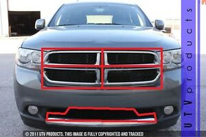 Gtg 2011 2013 Dodge Durango 5pc Gloss Black Overlay Combo Billet Grille Kit