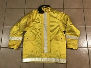Vintage Lion Ems Fire Coat Bunker Jacket Dazzle Yellow Emt Paramedic Size Large