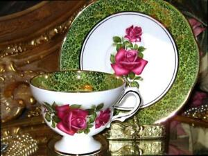 Rosina Wide Gold Lime Border English Roses Tea Cup And Saucer Fuschia Roses