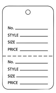 Perforated Tags Price Retail 1000 Sale 1 X 2 Two Part White Unstrung Tag