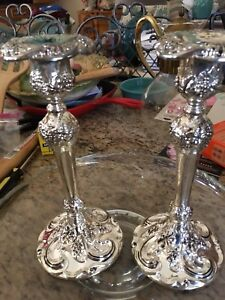 Pair Of Vintage Silver Candle Holders Excellent Condition