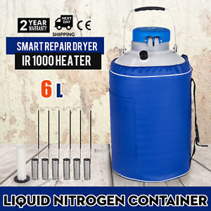 New 6l Liquid Nitrogen Tank Ln2 Cryogenic Container Dewar 6pcs Pails lock Cover
