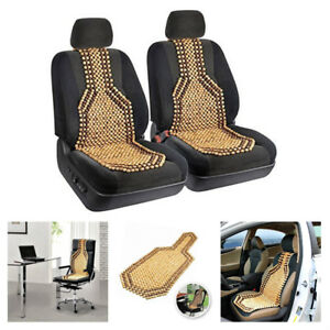Massage Car Seat Cover Beaded Cushion Therapy Chair Back Comfort Natural Wood