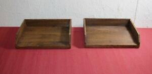 Threshold Wood Letter Tray Lot X2