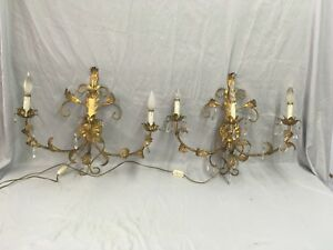 Vtg Lg Sconce Pair Gold Guild Leafy Tin Tole Lights Glass Prisms Italy 524 18e