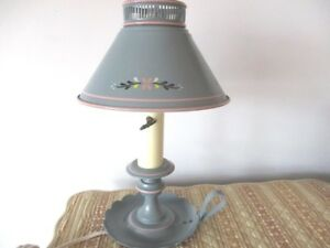 Vintage Wedgewood Blue Pink French Country Cottage Tole Desk Reading Lamp