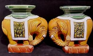 Chinese Antique Tang Sancai Pottery Brown Green Glazed Elephant Statue One Pair
