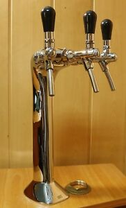New Beer Tower Tap Faucet Draft 3 Lines Chrome Keg Kegerator