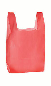 T Shirt Red Plastic Bags 1000 Grocery Retail Store Merchandise 11 X 6 X 21