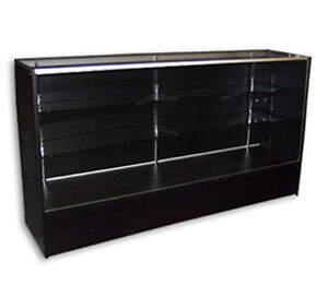 Showcase Display Full Vision Black 6 Knockdown Glass Shelf Store Fixture New