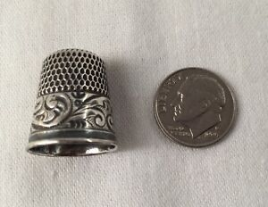 Simon Brothers Sterling Silver Thimble Size 8 Sewing Usa Antique 1100