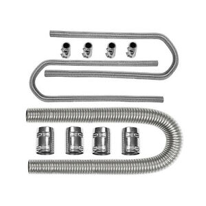48 44 Chrome Stainless Flexible Radiator Heater Hose Kit With Clamp Covers