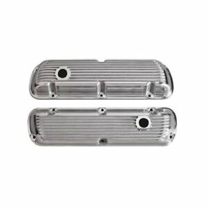 Cal Custom Finned Aluminum Valve Covers 188520 Ford Small Block V8 Polished