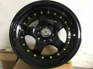 Set Of Four 15 Black With Gold Rivets Te Style Rims Wheels Fits 4x100