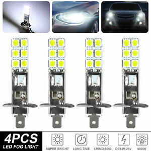 4pcs H1 6000k Super White 80w Cree Led Headlight Bulbs Kit Fog Driving Light