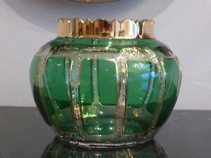 Antique Moser Art Glass Cased Overlay Vase With Extraordinary Gilt Decoration