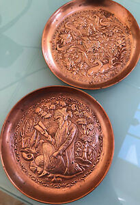 Vintage Copper Plates Chased And Repousse Design Eastern Motif 6 1 2 Pair