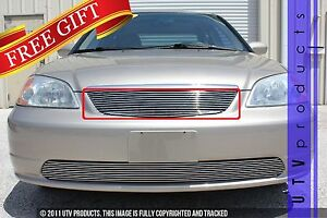 Gtg 2001 2002 Honda Civic Sedan 1pc Polished Replacement Billet Grille Grill