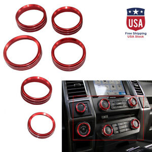 Set 6 Red Decor Ring Cover Trim For Ford F150 Air Conditioner Audio Switch Us