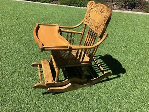 Gorgeous Antique Vintage Solid Oak High Chair And Rocker Great Detailing