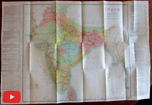 India Railroad Lines 1898 Huge Wall Map S I O Calcutta Detailed Color Rare