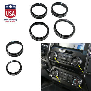 6x New Air Conditioner Audio Switch Decor Ring Cover Trim For Ford F150 Black Us