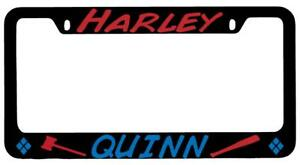 Harley Quinn Logo Design 2 Black Metal License Plate Frame