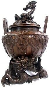 Vintage Solid Bronze Chinese Or Japanese Incense Burner With Chi Lin Dragon Top