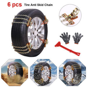 6pcs Anti Skid Snow Mud Tire Iron Chains Belt For Car Suv Truck Tire Emergency