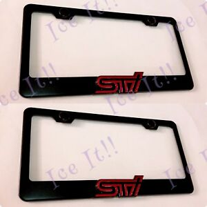 2x 3d Sti Emblem Subaru Wrx Black Stainless Steel License Plate Frame