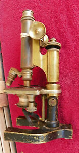 Antique Vintage Brass Bausch Lomb Microscope Damaged 1800s Sn 28256 11 3 4 In