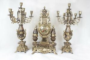 Brass Clock Set French Style Louis Xv With Brown Marble