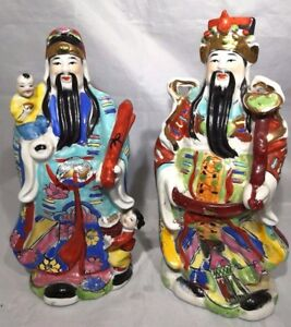 Chinese Vintage Porcelain Famille Rose Lucky God Figurine Statue One Pair