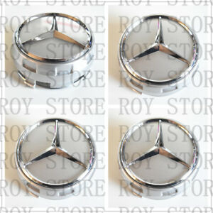 Mercedes Benz Wheel Raised Center Caps Ember Silver Silver Hubcaps 75mm