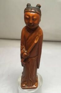 Antique Carving In Wood Buddhist Monk 4