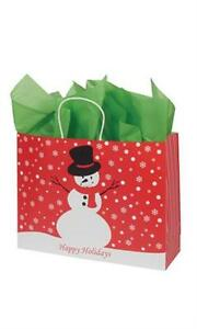 100 Paper Bags Snowman Holiday Christmas Shopping 16 X 6 X 12 Retail Gift