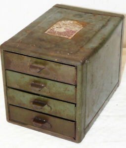 Vintage 4 Drawer Metal Small Parts Cabinets Tool Box Hardware Storage Organizer