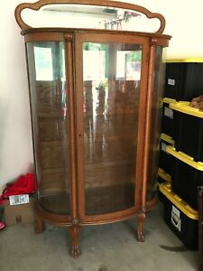 Antique Oak Curved Glass Claw Foot China Cabinet With Mirrored Back