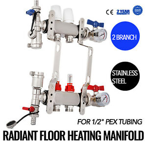 2 branch Pex Radiant Floor Heating Manifold Set Resistant W adapters Tested