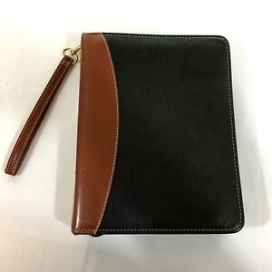 Franklin Covey Two tone Pebbled Black Brown Verona Leather 7 Ring Zip Binder