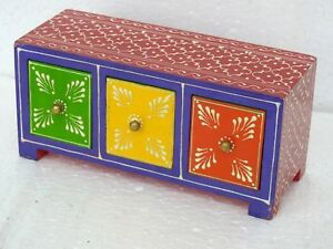 Drawer Chest Antique Wooden Gift Box Hand Painted Embossed Vintage Storage Wood