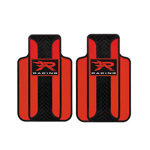 R Racing Red Vinyl Front Rubber Floor Mats Universal Fit