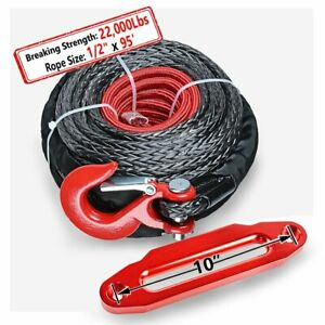 1 2 92ft Synthetic Winch Recovery Rope 22000lbs Red Hook 10 Hawse Fairlead