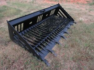 Bobcat Skid Steer Attachment 84 Rock Skeleton Bucket With Teeth Ship 149