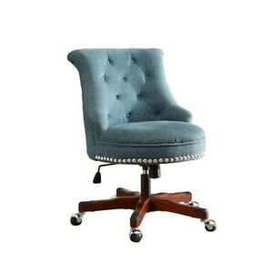 Riverbay Furniture Armless Upholstered Office Chair In Aqua